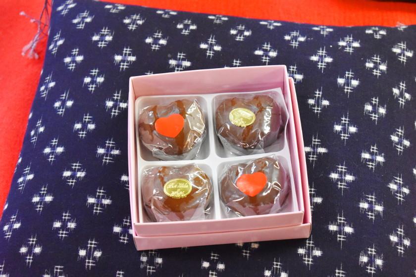 老舗和菓子屋「御菓子司 たつの」の名品「チョコレート万寿」は幸せの味♡ バレンタイン限定のハート型ですよ!