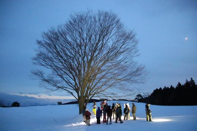 月明かりを頼りに雪原散歩