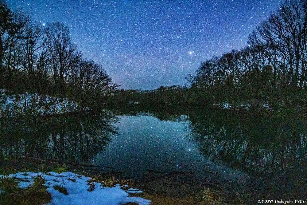 池に映る星空風景!福井市の追分の池で星を見てきました!【ふくい星空写真館】