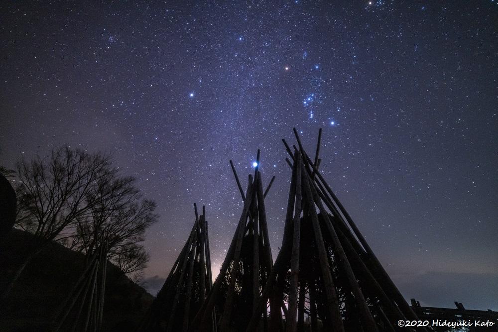 雪囲いと見上げる冬の大三角! 大野市の銚子ヶ口展望広場で星を見てきました!【ふくい星空写真館】