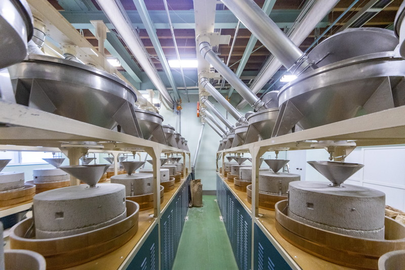 「在来種のおいしさを引き出すことが仕事です」。福井市の齊藤製粉所で石臼を用いた福井ならではの製粉の特徴を教わりました。【そばのうまれる風景】