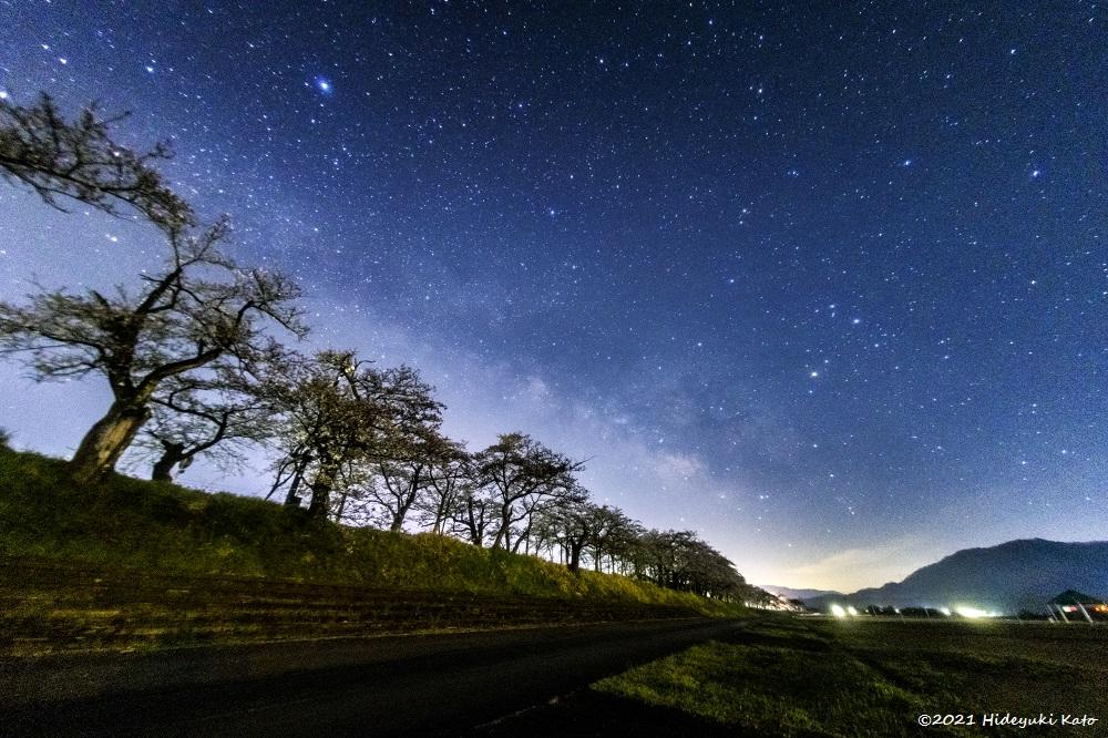 桜並木と天の川! 勝山市の弁天緑地公園で星を見てきました!【ふくい星空写真館】